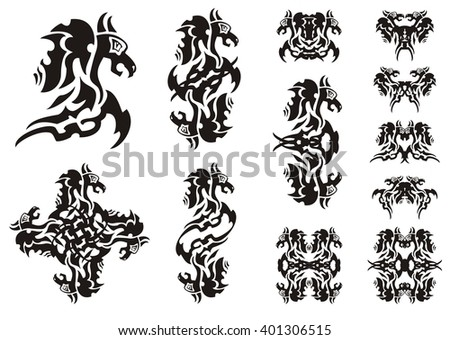 Flaming winged dragon symbols. Double symbols of a dragon, a butterfly of a dragon and dragon patterns isolated on white - stock vector