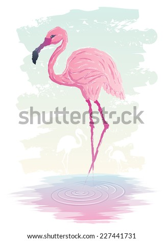 Flamingo: Abstract illustration of flamingo. No transparency used. Basic (linear) gradients used.  - stock vector