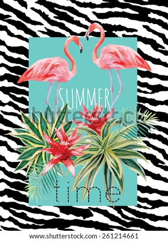 flamingo and tropical plants watercolor summer illustration - stock vector