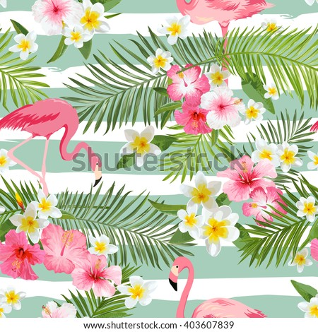 Flamingo Background. Tropical Flowers Background. Seamless Pattern. Vector. - stock vector