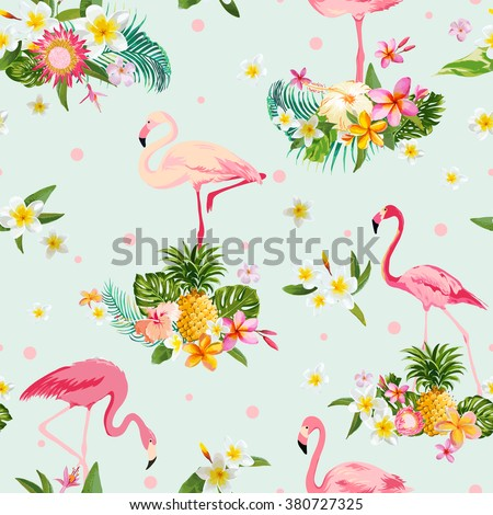 Flamingo Bird and Tropical Flowers Background - Retro seamless pattern - in vector - stock vector