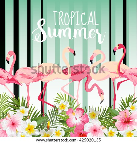 Flamingo Bird Background. Retro Pattern. Tropical Background. Vector. Tropical Graphic Design. Template Brochure.  - stock vector