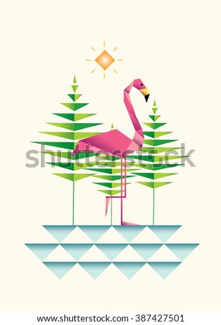 Flamingo Decorative Vector Design Geometrical Flamingo Stock Vector