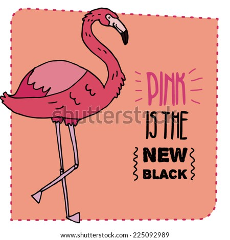 Flamingo hand drawn illustration. Vector illustration. Can be used for your design, cards, magnets etc. - stock vector