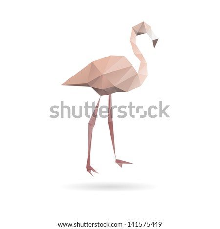 Flamingo isolated on a white backgrounds - stock vector