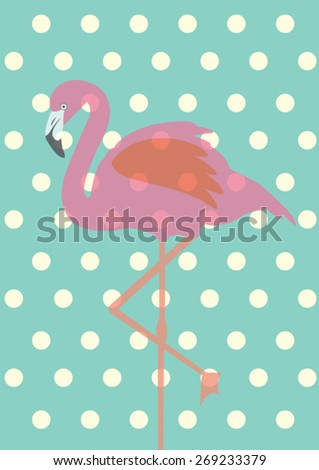 flamingo polka dot background vector/illustration - stock vector