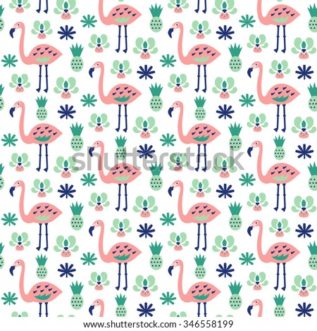 Flamingo seamless pattern. Vector illustration. Surface decoration with flamingo, pineapple and flower. - stock vector