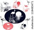 Flamingo Silhouettes - stock vector