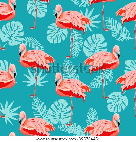 flamingo sketch vector illustration seamless. tropical theme, the idea of textiles, fashion trend, flamingo pattern on a blue background. - stock vector