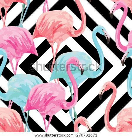 flamingo watercolor pattern, geometric background - stock vector