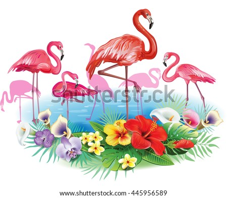 Flamingoes and Arrangement from tropical flowers  - stock vector