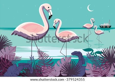 flamingos/tropical vector/illustration - stock vector