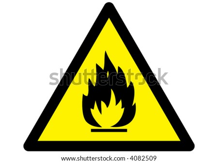 Flammable Fire Hazard warning symbol on yellow triangular sign