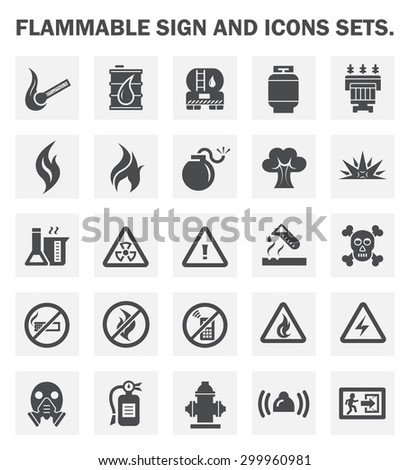 Flammable sign and icons sets.