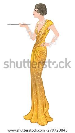 Flapper girl: Retro party invitation design template. Smoking lady. Full length portrait. Vector illustration.  - stock vector