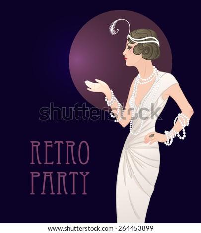 Flapper girl: Retro party invitation design template. Vector illustration.  - stock vector