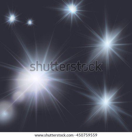 flares, beams, light effects, editable elements under clipping mask, vector illustration - stock vector