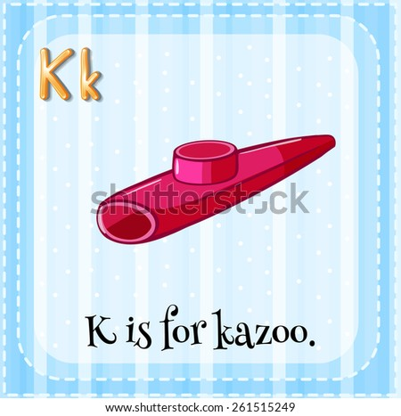 Flash card letter K is for kazoo - stock vector