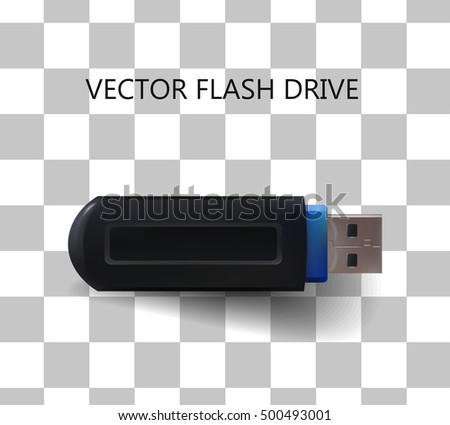 Flash drive USB in black color. Vector isolated on transparent background