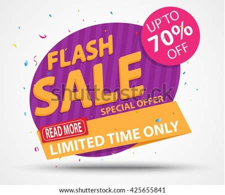 Flash Sale Banner and Best Offer design - stock vector