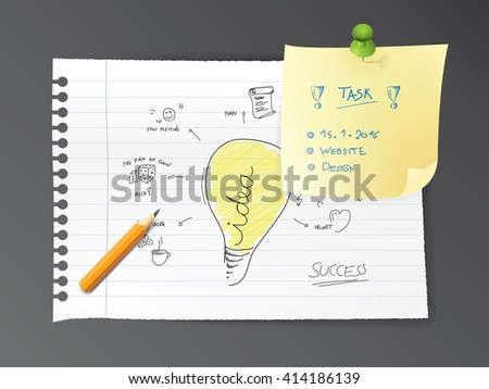 Flashbulb with hand drawn icons of you successful business plan. Realistic vector paper and pencil mock up. Realistic vector paper with task. Graphic element.  - stock vector