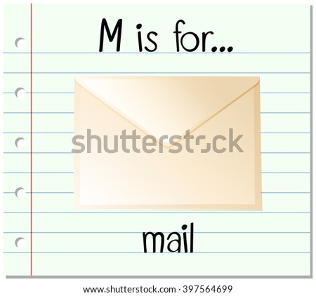 Flashcard letter M is for mail - stock vector