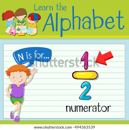 Flashcard letter N is for numerator illustration