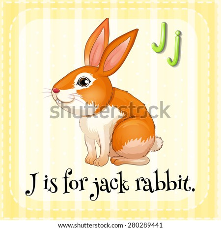 Flashcard letter R is for rabbit - stock vector
