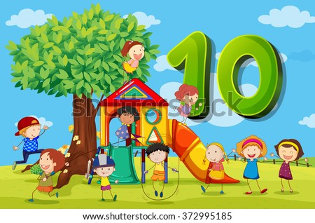 Flashcard number 10 with ten children in the park illustration - stock vector