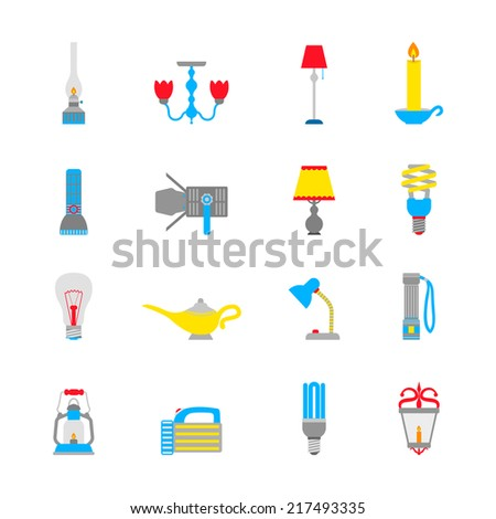 Flashlight and lamps illumination equipment icons flat set isolated vector illustration - stock vector