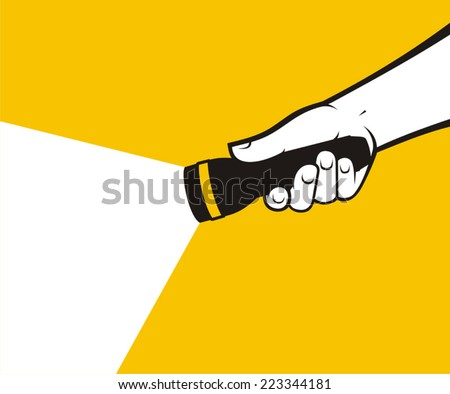 Flashlight hand - stock vector
