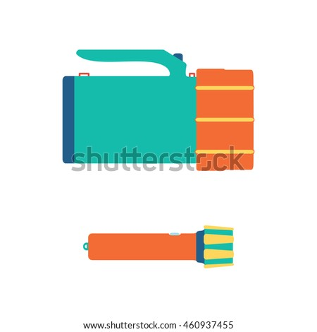 Flashlight icons. Vector illustration. Isolated on a white background.