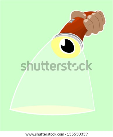 flashlight with eye and light beam - stock vector