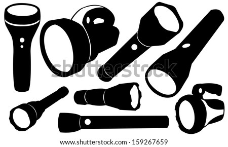 flashlights set isolated - stock vector