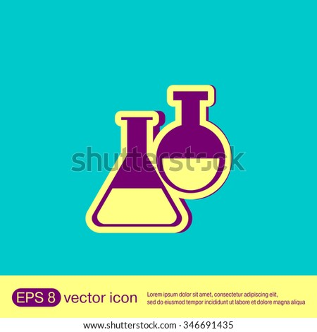 flask bulb symbol chemistry. symbol icon of medicine or chemistry . the study of science