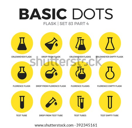 Flask flat icons set with test tubes form, florence flask form and erlenmeyer flask form isolated vector illustration on white - stock vector