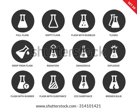 Flask vector icons set. Chemical tools. Icons for laboratories, science concept, full and empty flasks, radiation, explosive, flasks with substances and broken flask. Isolated on white background - stock vector
