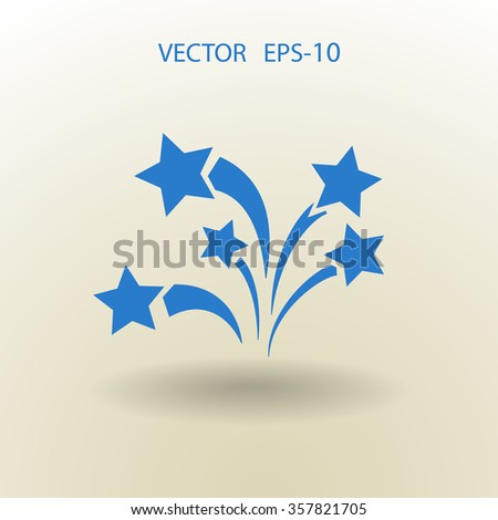 Flat a firework icon. Vector. - stock vector