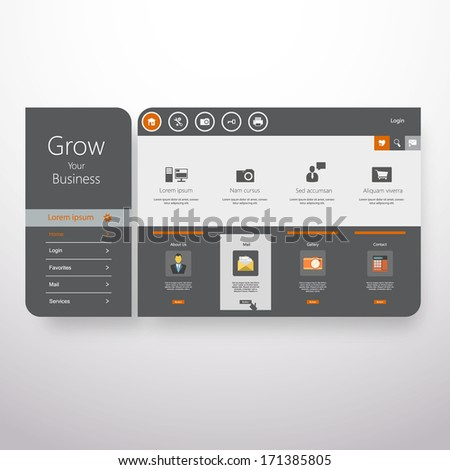 Flat Abstract Website design template, vector.  - stock vector