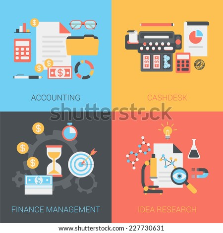 Flat accounting, cash box, finance management, idea research concept. Vector icon banners template set. Document, money, folder, register, calculator.. Web illustration. Website infographics elements. - stock vector