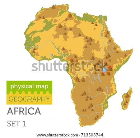 Flat Africa Physical Map Elements Isolated Stock Vector - Map of africa physical