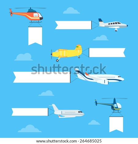 Flat airplanes and helicopters set with white ribbon for text banners. Plane is flying with flag - stock vector