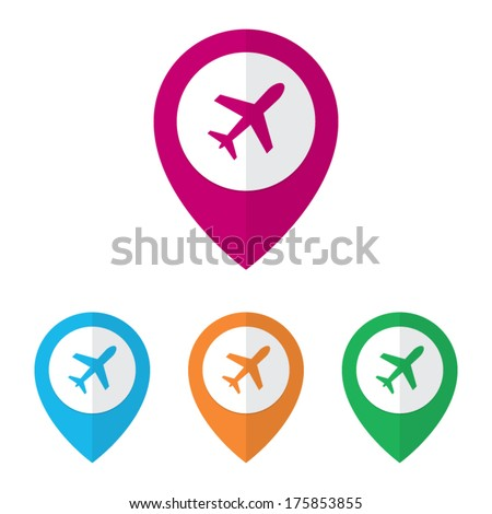 Flat Airport Markers - stock vector