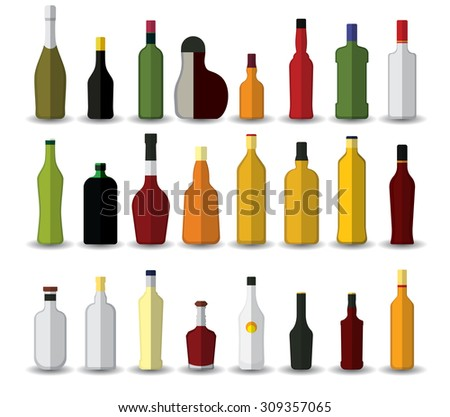 Flat Alcoholic bottles