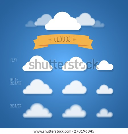 Flat and blurred vector clouds set