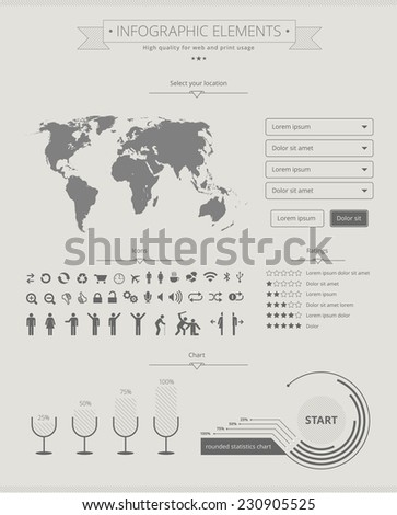Flat and modern infographics elements for web and print usage