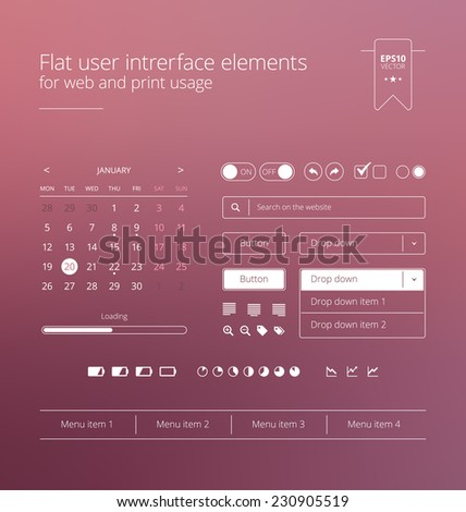 Flat and modern website user interface - stock vector