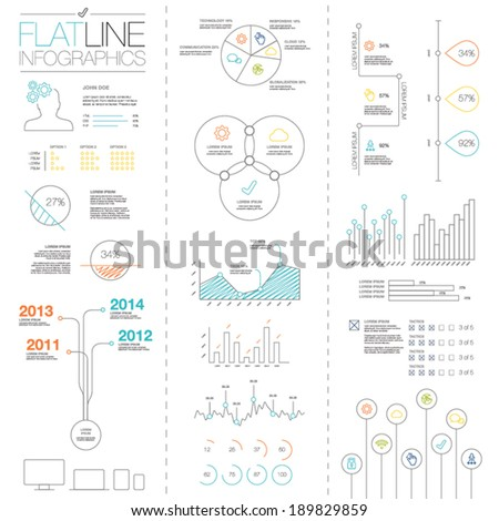 Flat and simple easy colorful outline vector infographic elements  - stock vector