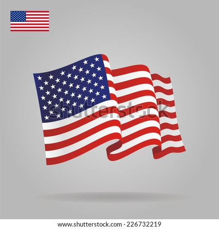 Flat and waving American Flag. Vector illustration - stock vector