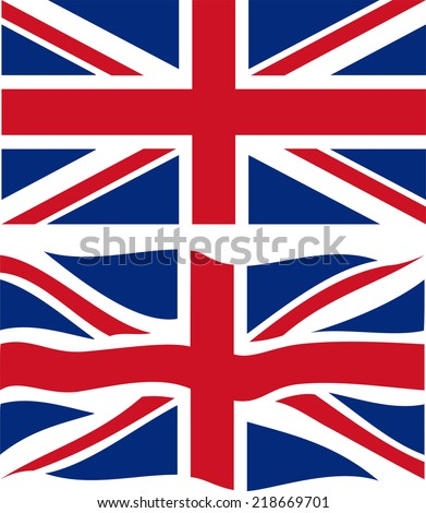 Flat and waving British Flag. Vector illustration - stock vector
